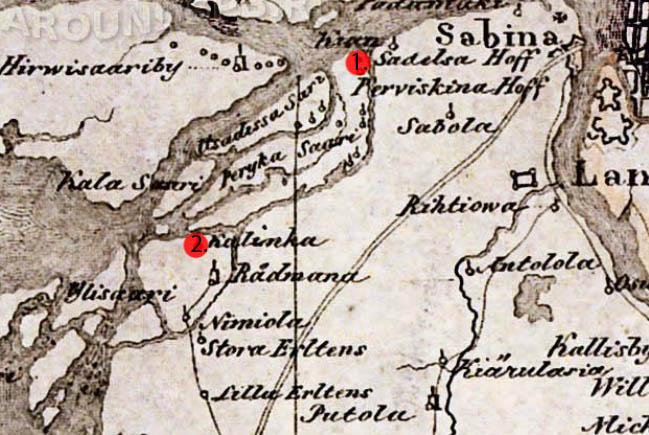 Франмент карты Ингерманландии. 1676г.