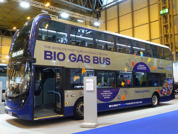 Автобус Scania ADL Enviro400CBG на биометане. Bus Expo 2016, Birmingham, UK.