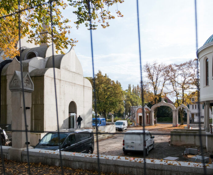 Вид на строительную площадку собора, Страсбург, Франция