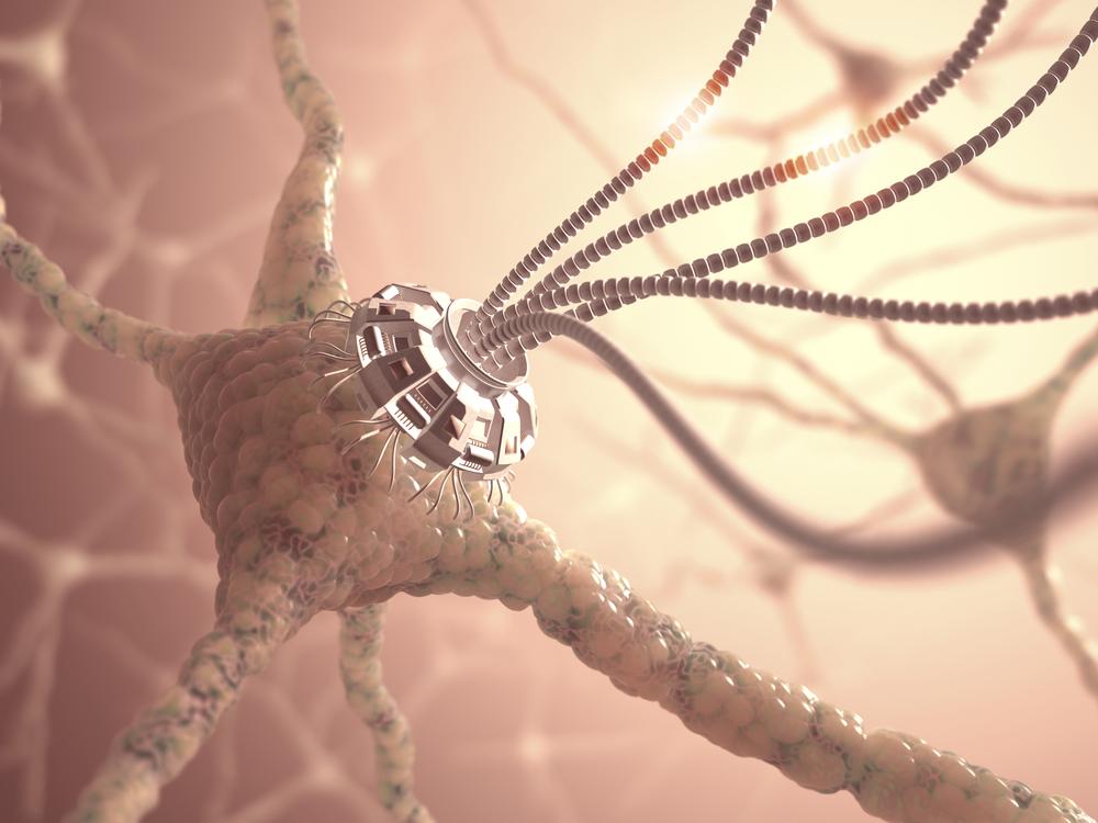 Нейронная сеть с искусственной киберсвязью, художественный концепт нанотехнологий.