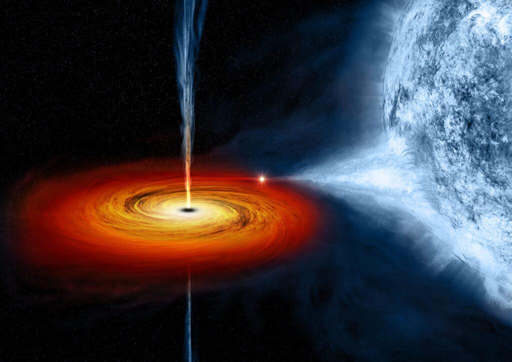 художественный концепт черной дыры Лебедь x-1. Черная дыра втягивает материю с голубой звезды рядом с ним. Credits: NASA/CXC/M.Weiss