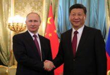 Владимир Путин с Председателем Китайской Народной Республики Си Цзиньпином.