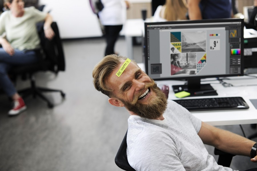 офис, мужчина, смех