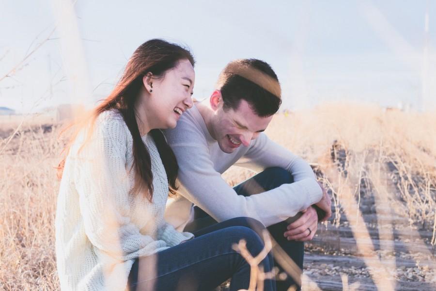 смех, пара, счастье