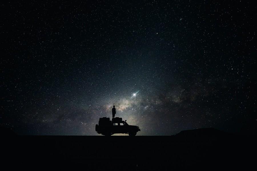 галактика, звезды, ночь, машина