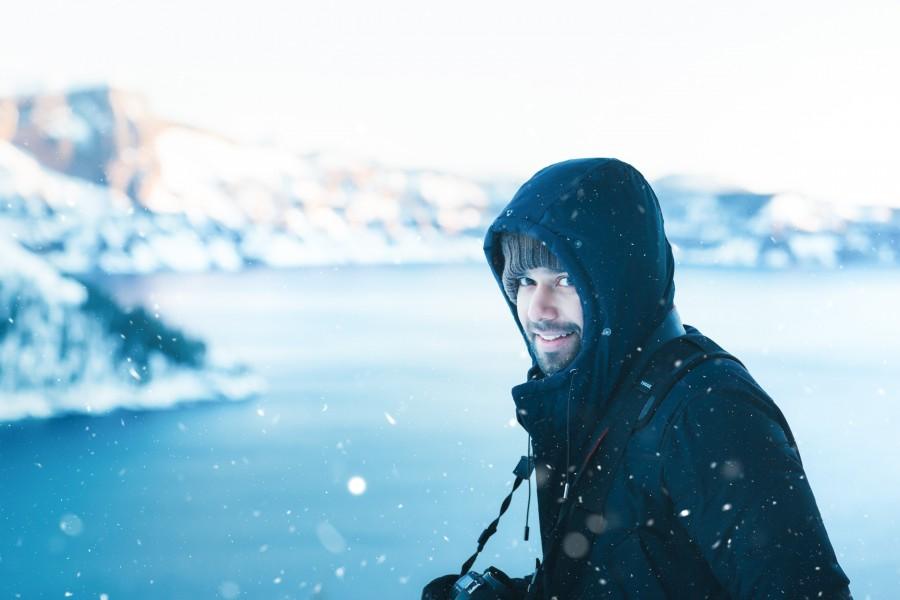 зима, улыбка, мужчина