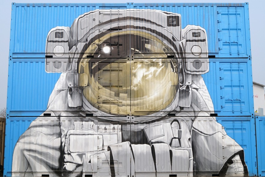 космонавт, стрит-арт, графити