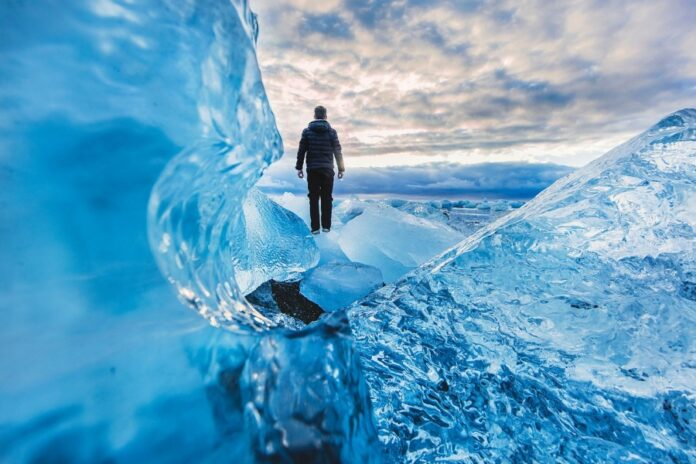 зима, мужчина, лед