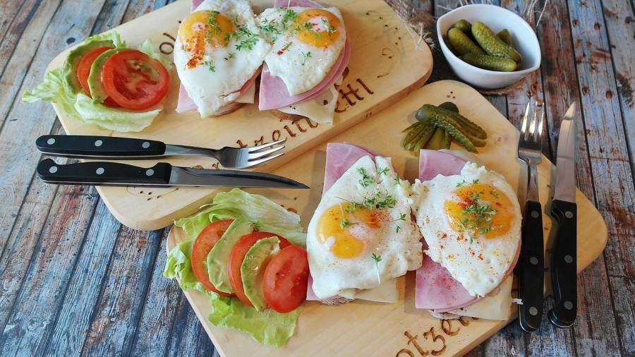 яичница, еда, завтрак