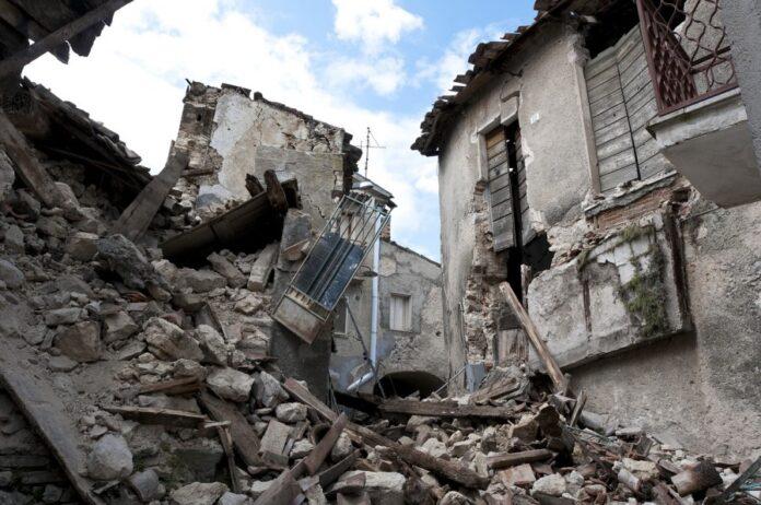 землетрясение, здание, разрушен