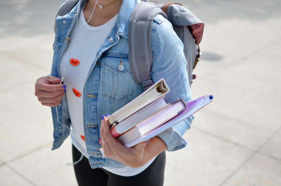 школьник, девушка, книги, ученик