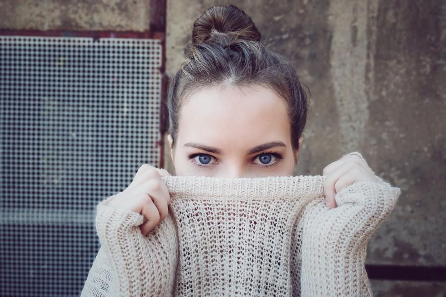 женщина, свитер, портрет