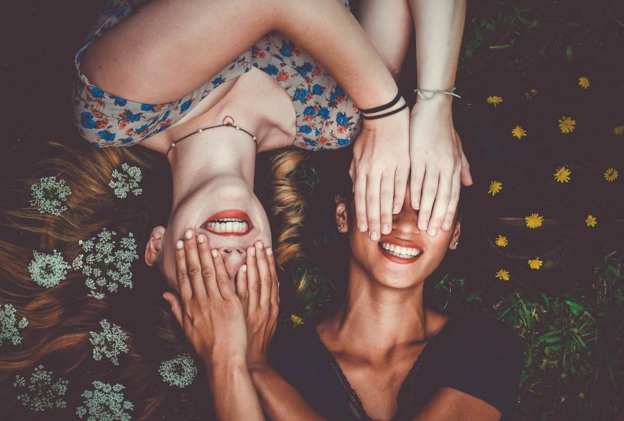 эмоции, девушки, смех, цветы