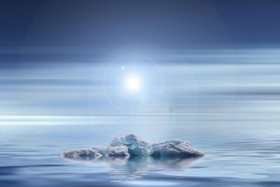 айсберг, тает, лед, вода, потепление