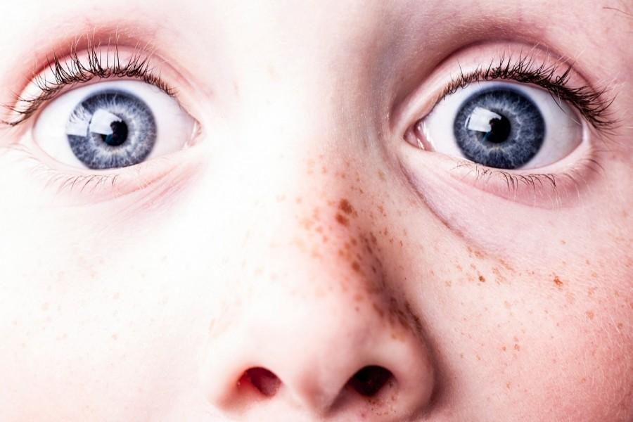 ребенок, удивление, глаза, веснушки