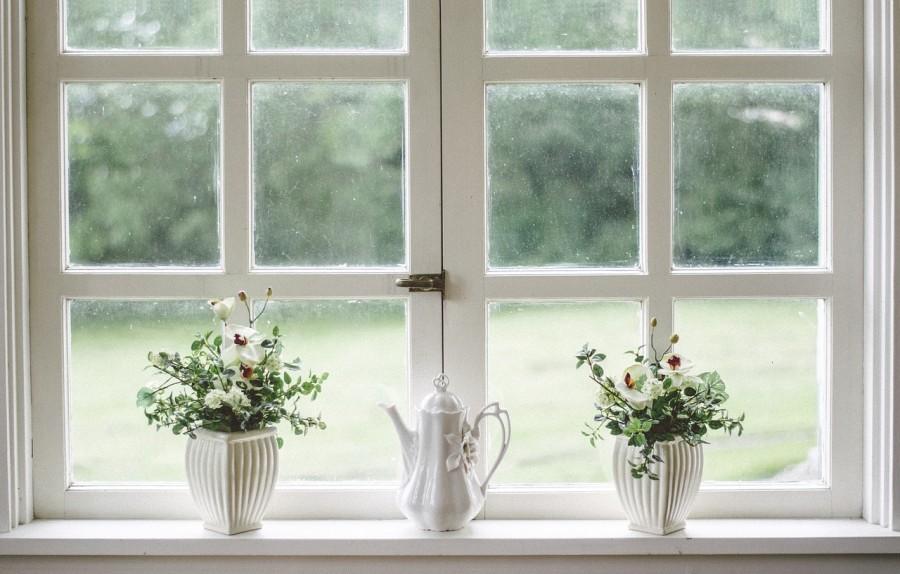 окно, цветы, подоконник, чайник