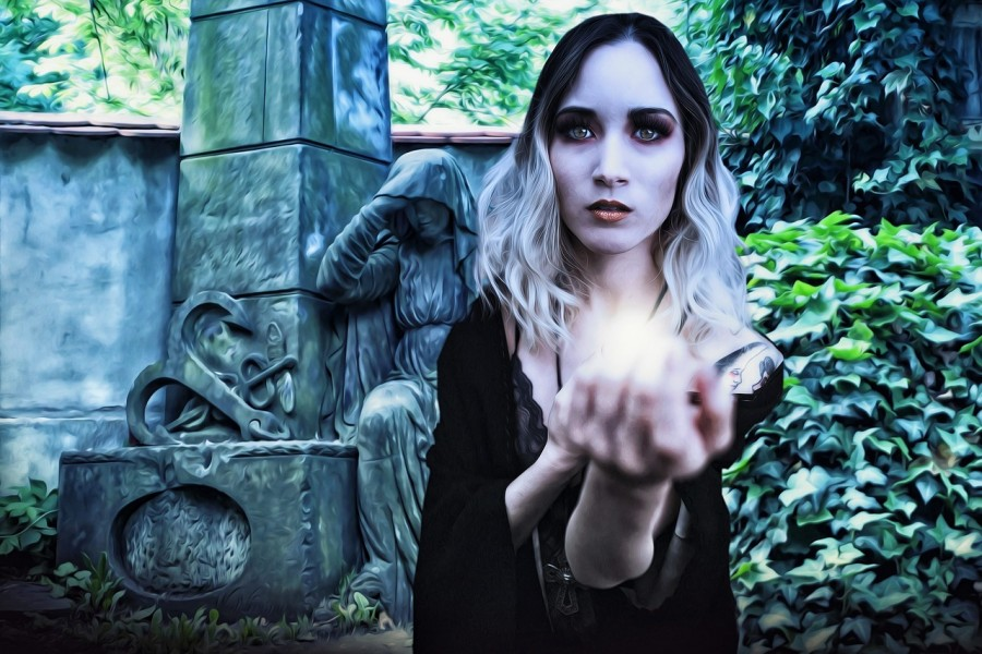 вампир, девушка, кладбище