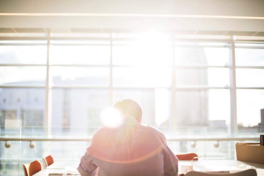 работа, солнце, окно
