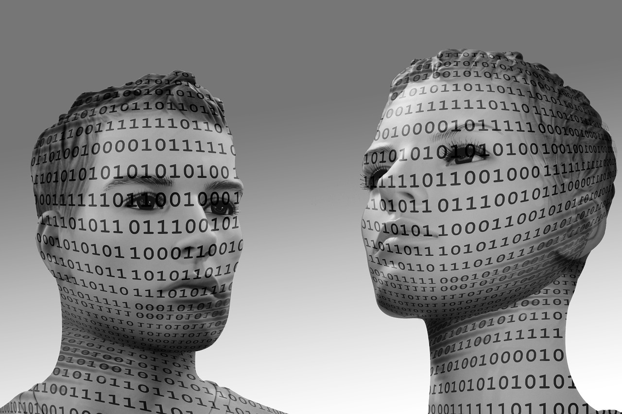 код, человек, двоичный, голова