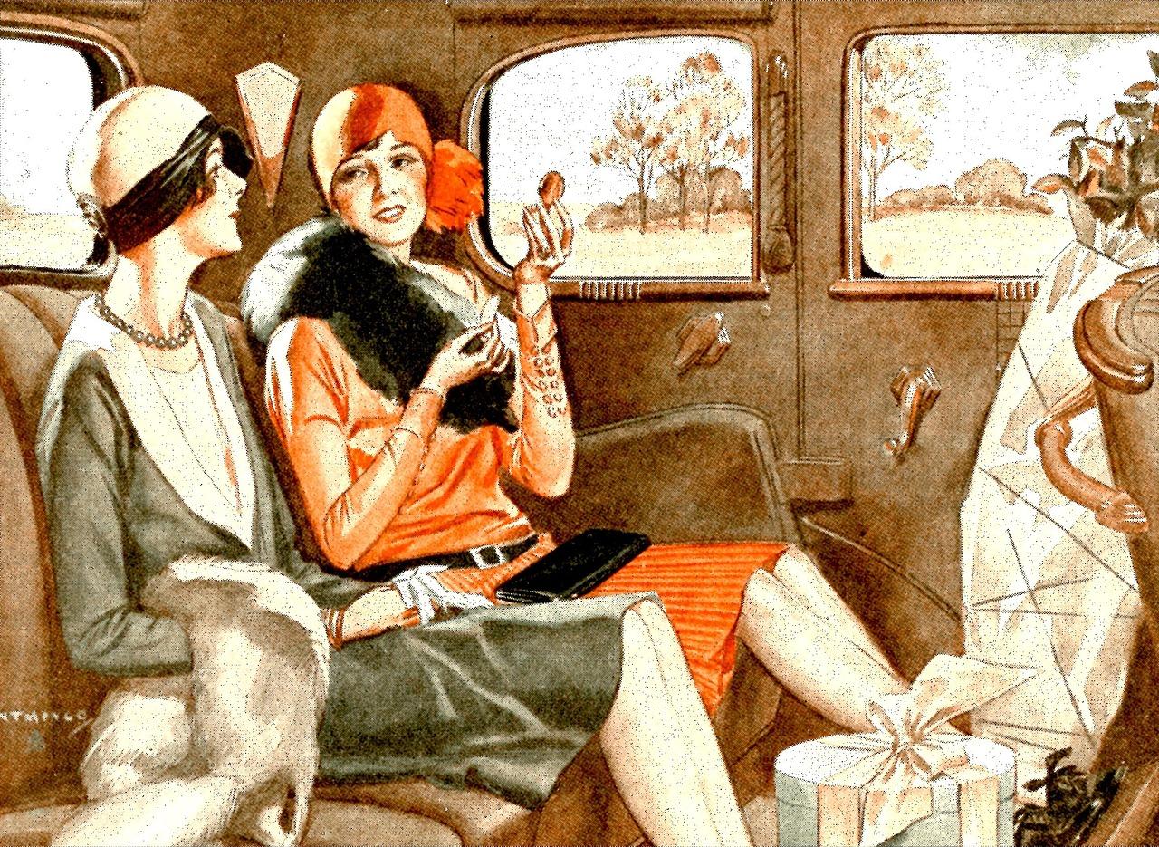 1920, мода, женщины, машина