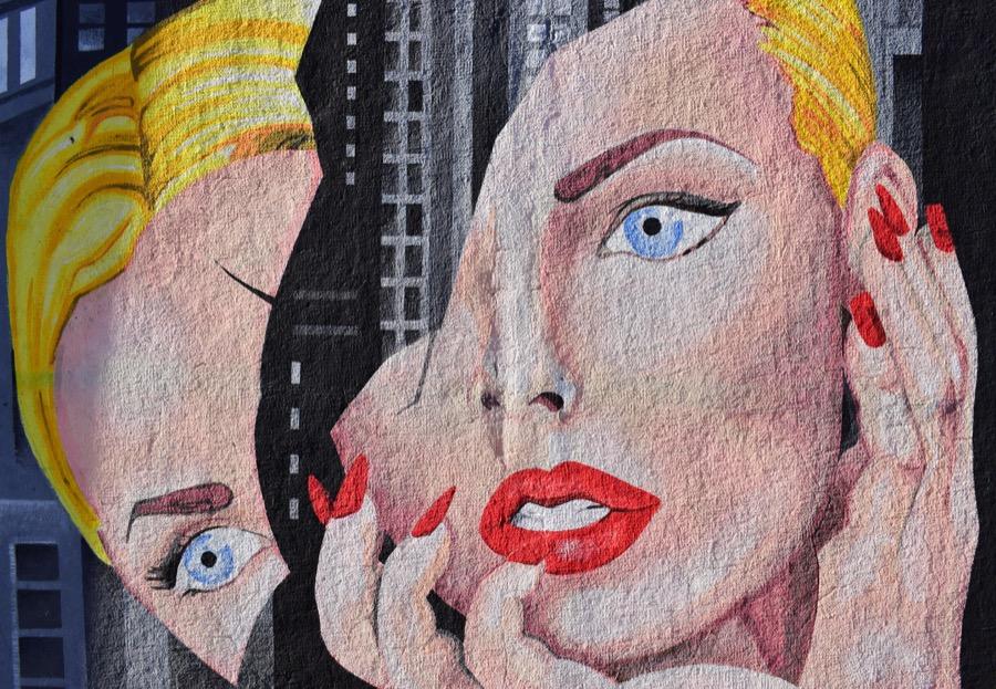 Разбитый, стрит-арт, девушка, глаза, макияж