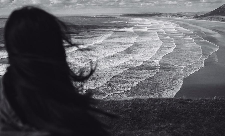 Море, горизонт, волны, девушка