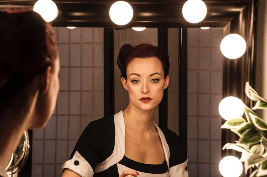 девушка, зеркало, отражение
