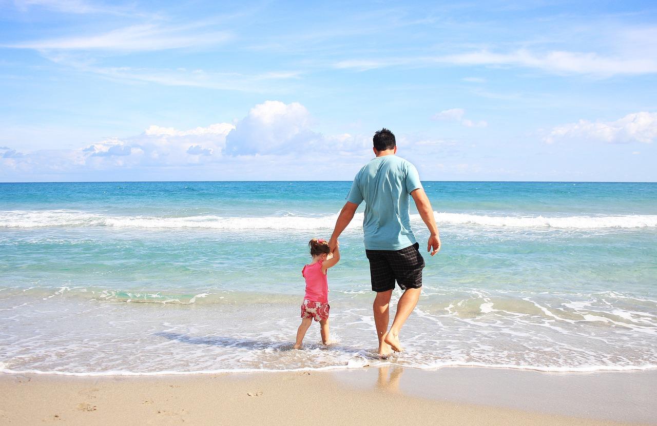 море, дочь, отец, пляж, море