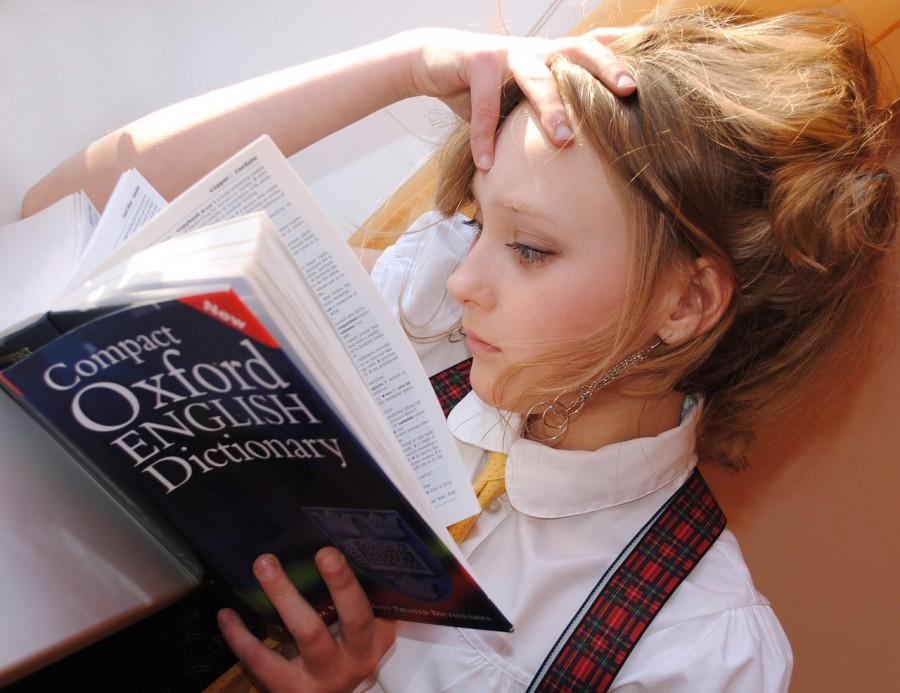 словарь, английский, девушка, язык