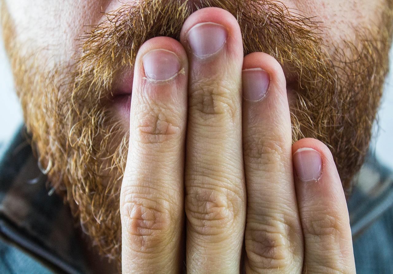 икота, дыхание, мужчина, борода