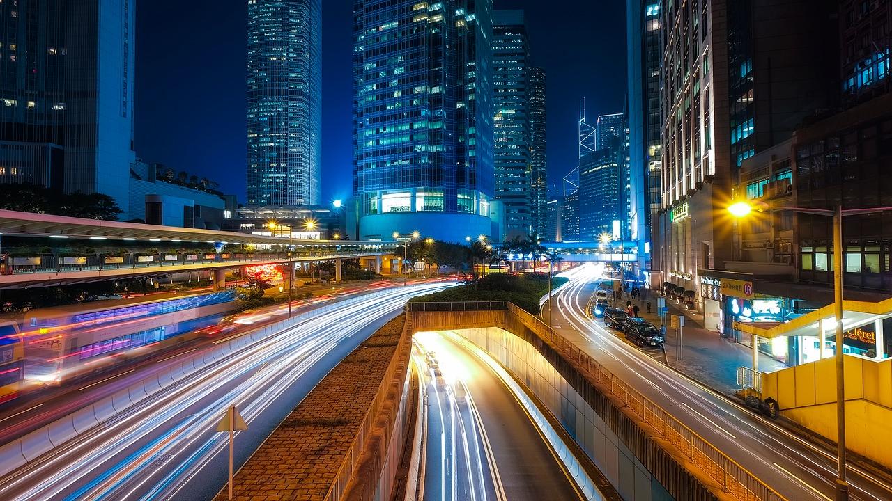 Гонконг, город, ночь, дорога