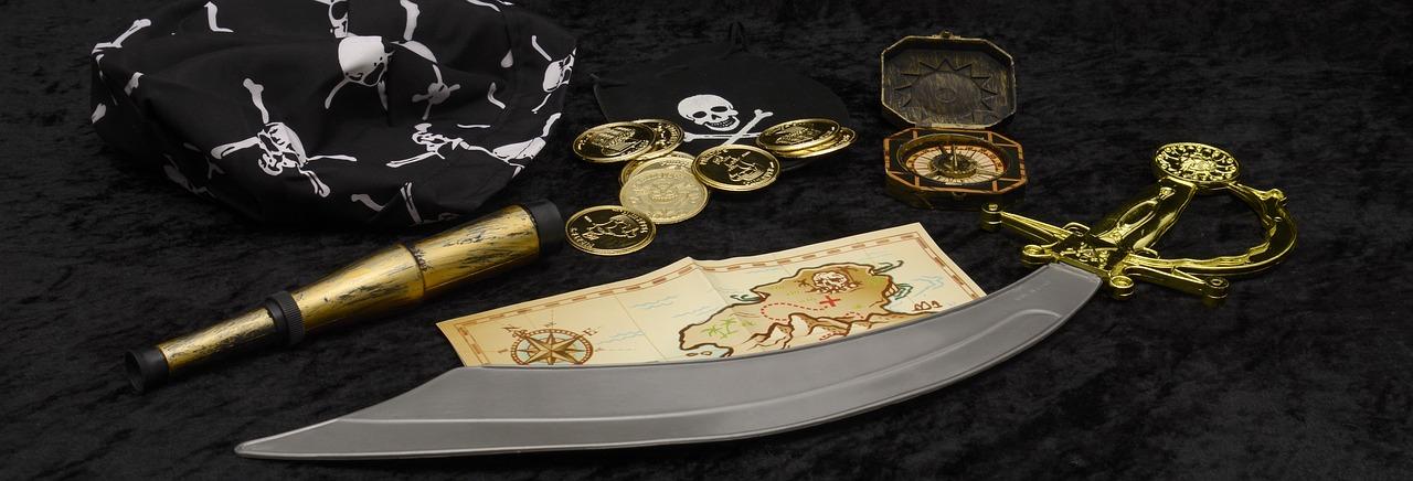 пират, карта, оружие, деньги