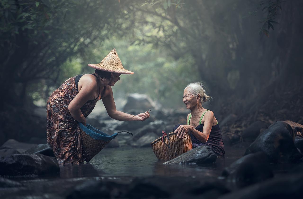 абориген, старик, азия
