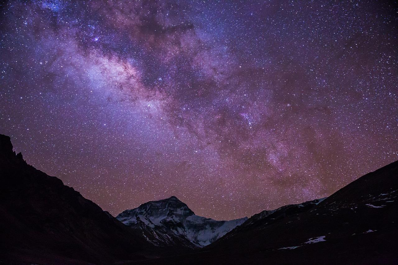 Млечный путь, Тибет, горы, небо, ночь