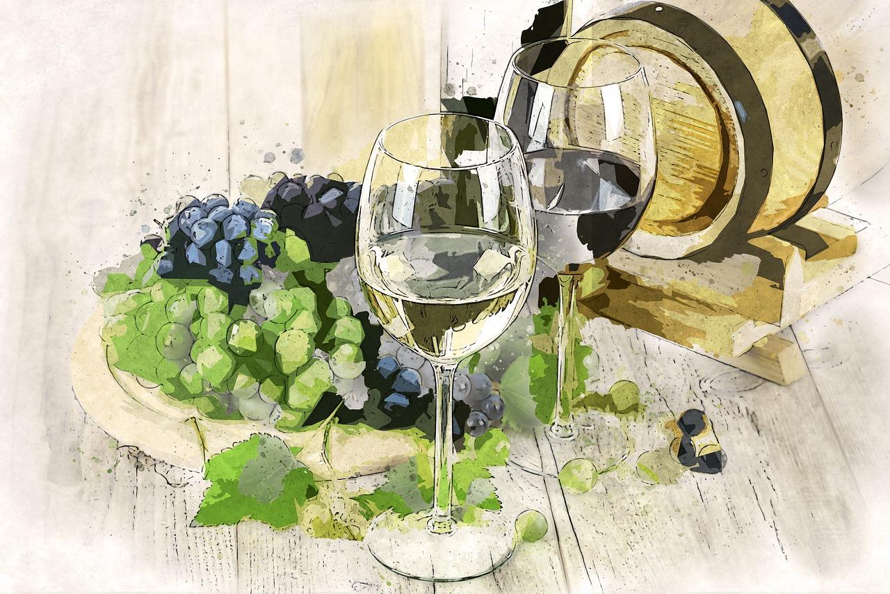 вино, бочка, виноград