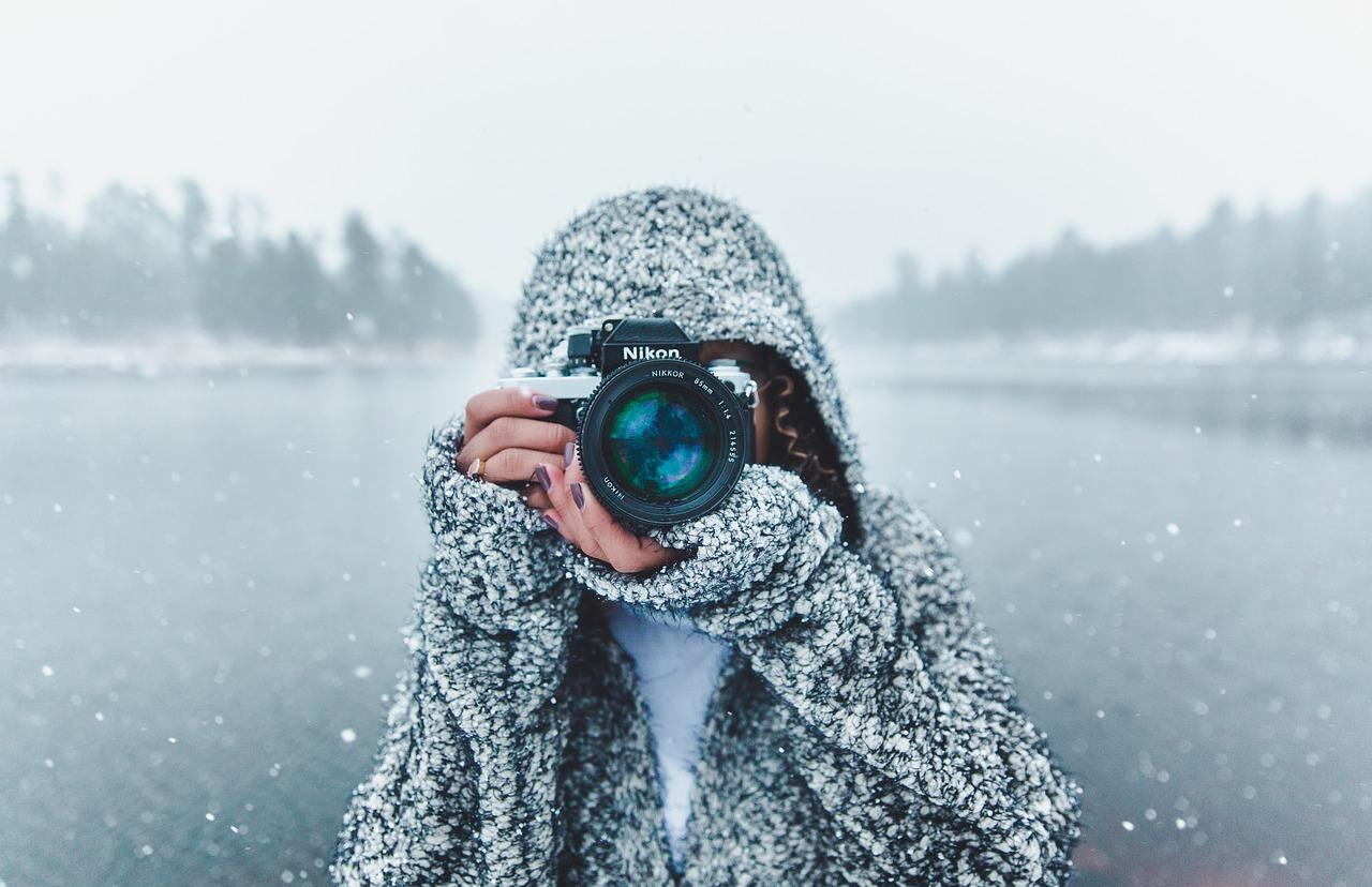 фотограф, зима, камера