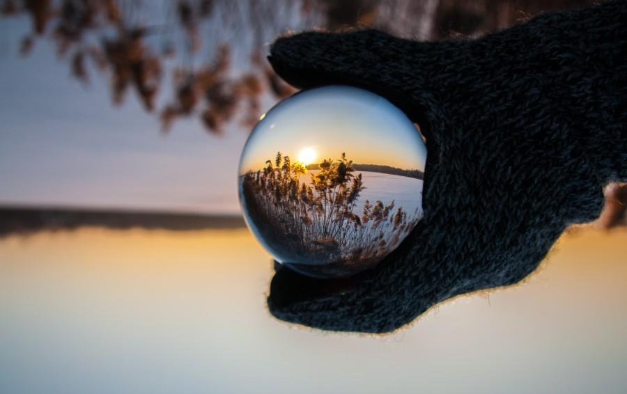 шар, стекло, искажение, отражение