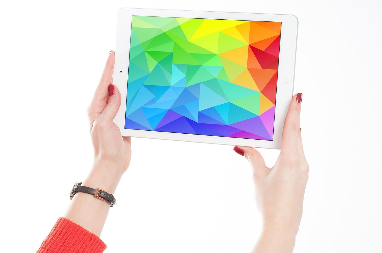 Ipad, экран, яркий, радуга