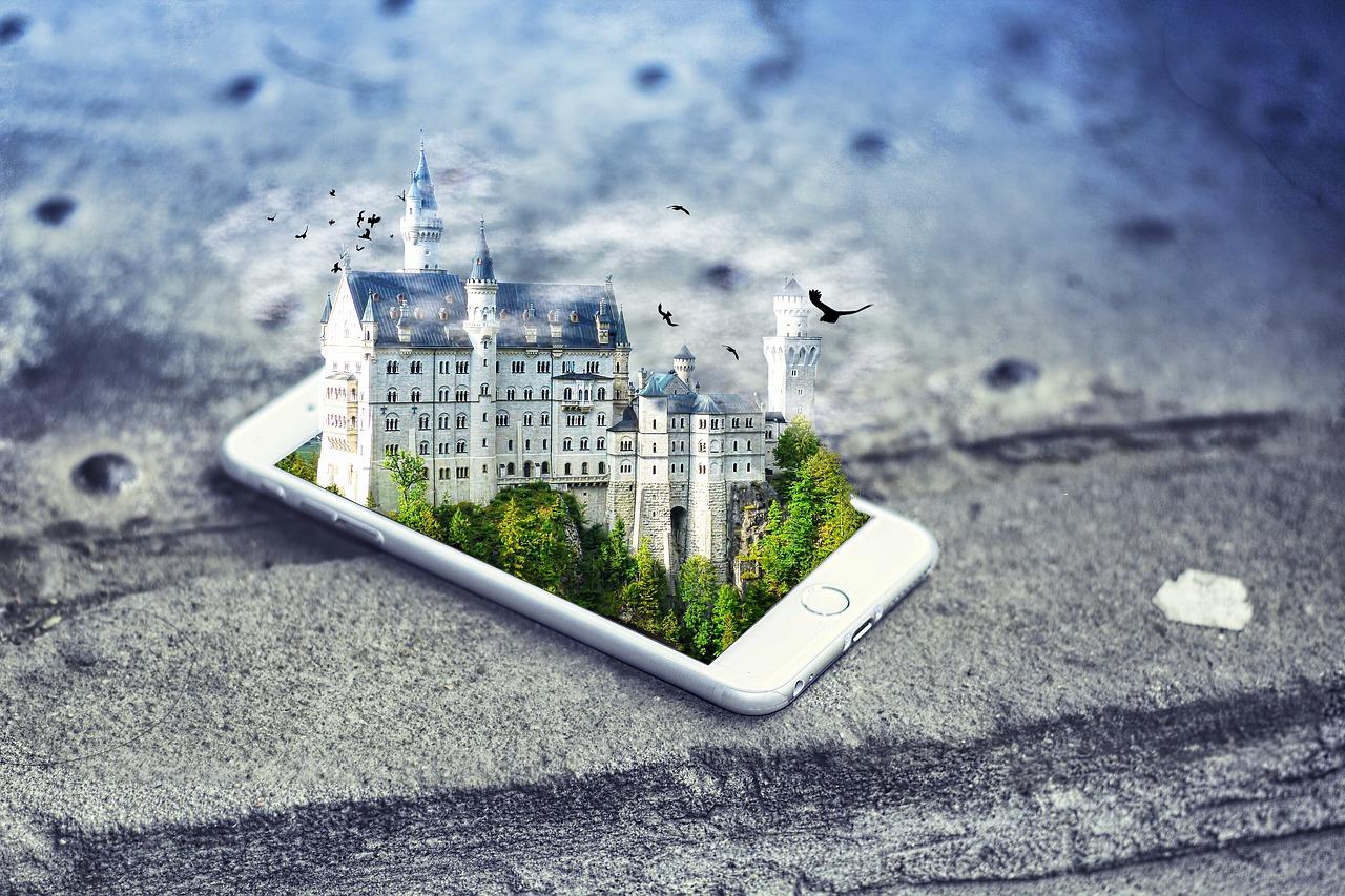 иллюзия, замок, смартфон