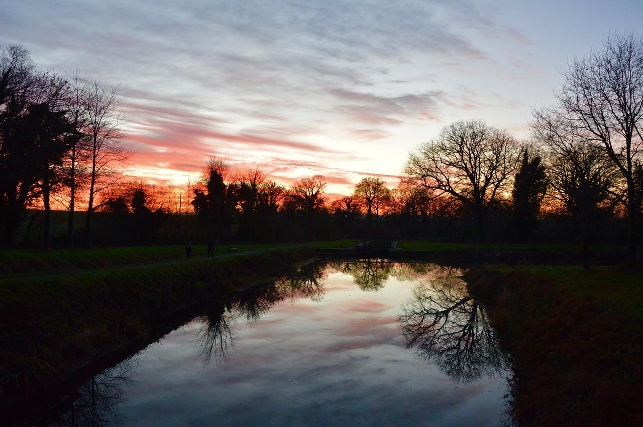Пейзаж, вечер, закат, небо