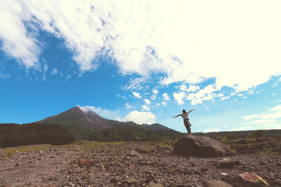 небо, человек, горы