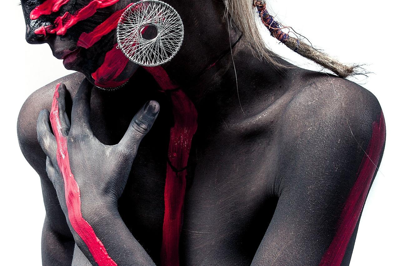 женщина, кожа, черный