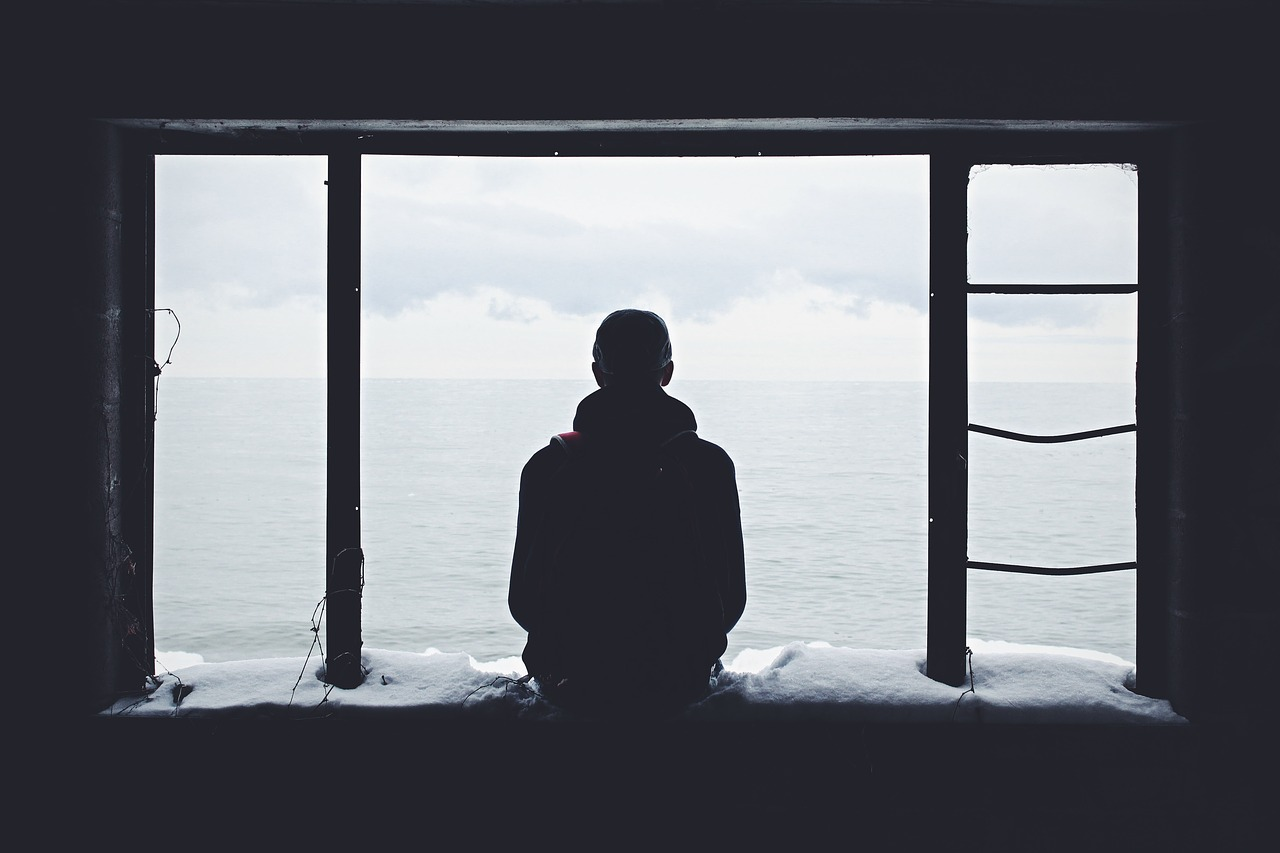 Мыслитель, мужчина, окно