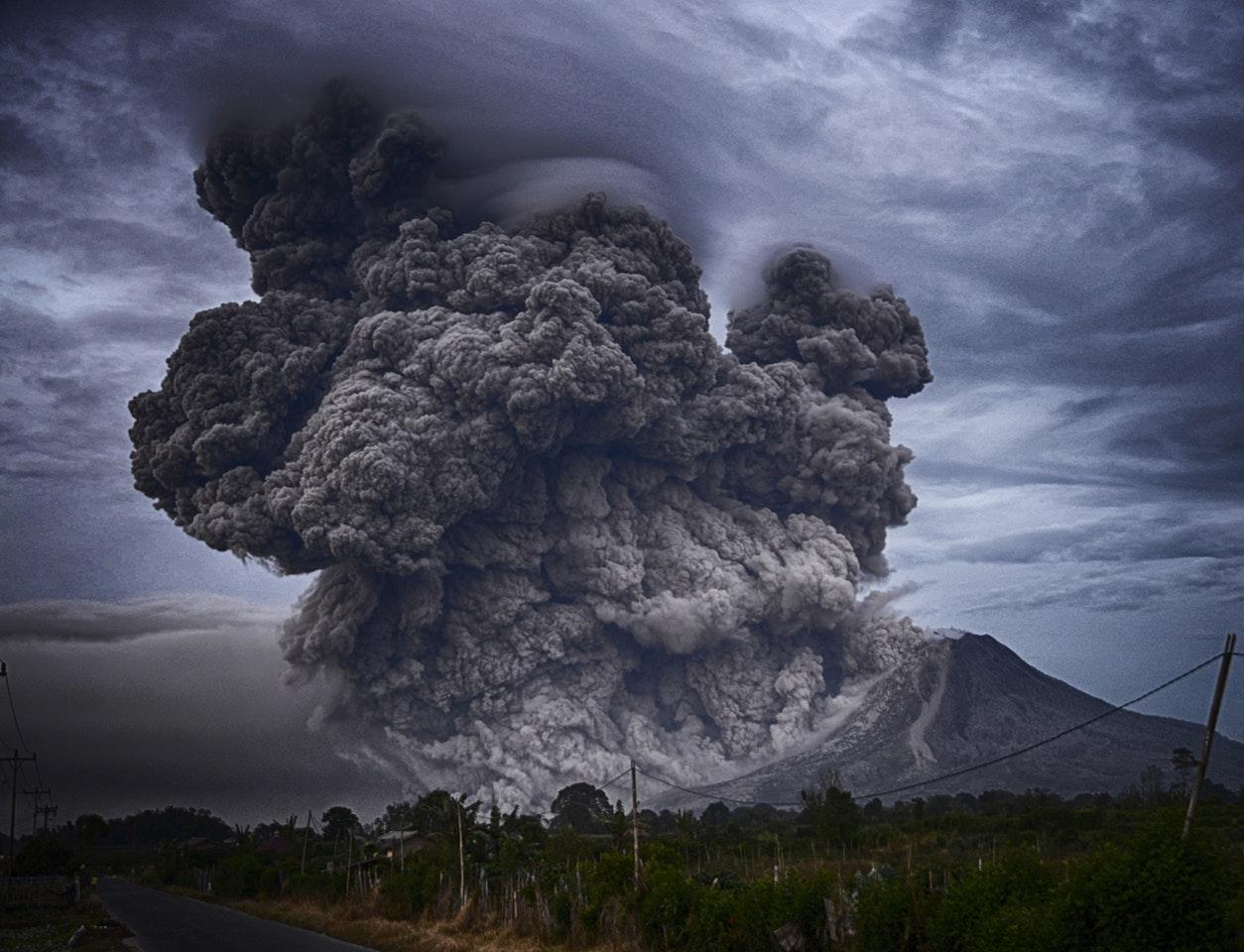 Вулкан, извержение, дым
