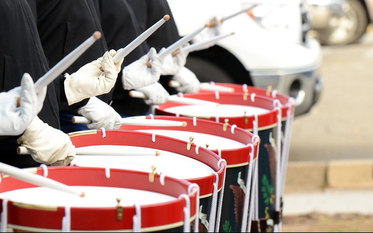 барабан, оркестр, ритм, удар