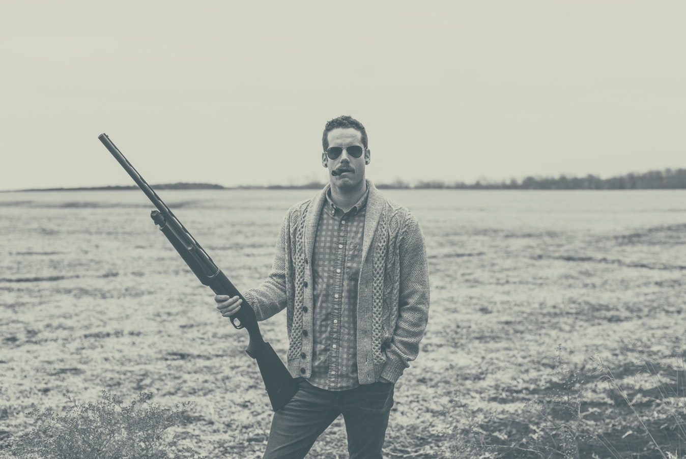 оружие, мужчина, ружье
