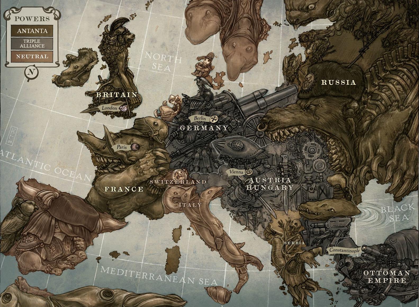 Империя, стимпанк, стилизация, карта