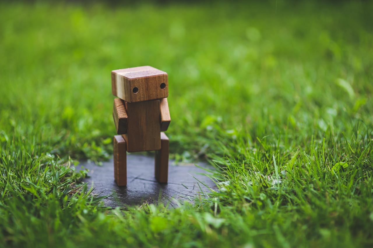 робот, деревянный, макро