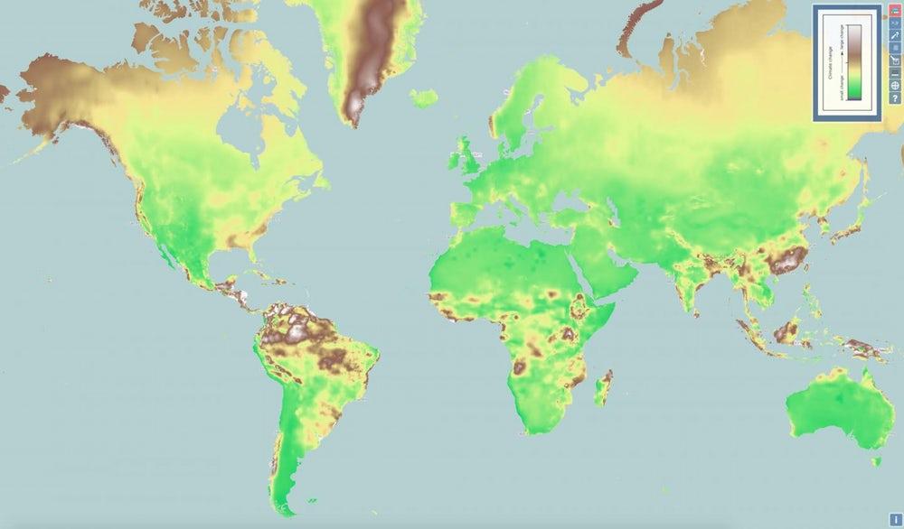 Карта с прогнозом изменений климата