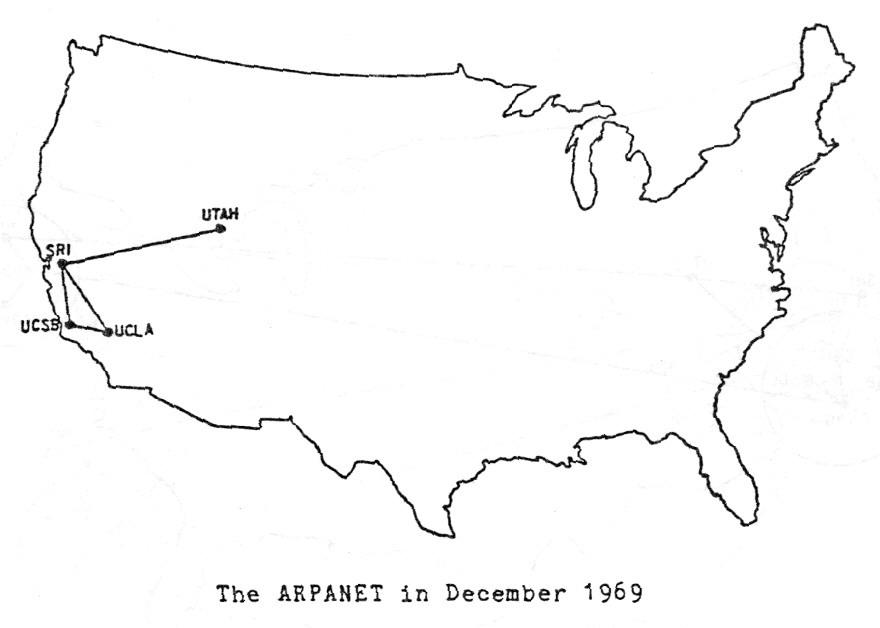 Распространение ARPANET в 1969